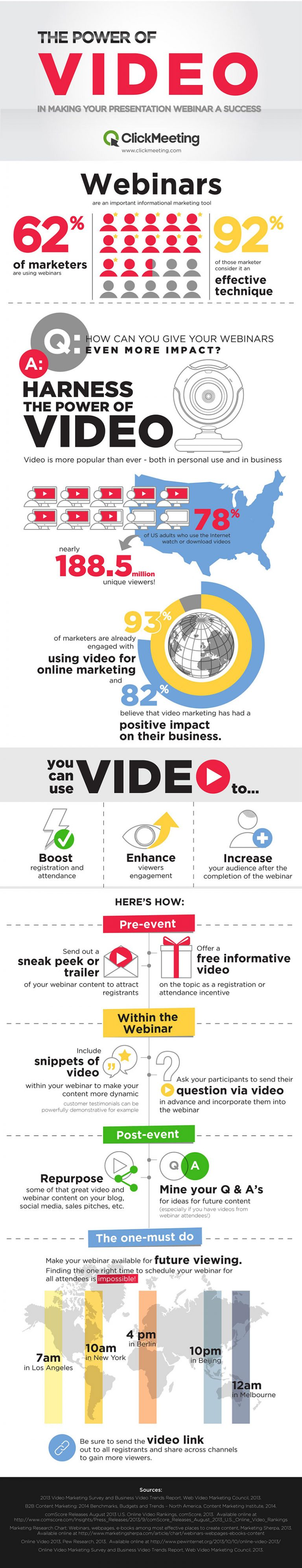 The power of video in making your webinar a success Webinars are an important informational marketing tool used by 62% of marketers. 92% of those marketers consider it an effective technique. Q: How can you give your webinars even more impact? A: Harness the power of video! Video is more popular than ever – both in personal use and in business 78% of US adults who use the Internet watch or download videos – nearly 188.5 million unique viewers!93% of marketers are already engaged with using video for online marketing and 82% believe that video marketing has had a positive impact on their business.You can use videos to:Boost registration and attendance, Enhance viewer engagement, Increase your audience after the completion of the webinarPre-event:Send out a sneak peak or trailer of your webinar content to attract registrants, Offer a free informative video on the topic as a registration or attendance incentive. Within the webinar: Ask your participants to send their questions via video in advance and incorporate them into the webinar, Include snippets of video within your webinar to make your content more dynamic - customer testimonials can be powerfully demonstrative for example. Post event: Repurpose some of that great video and webinar content on your blog, social media, sales pitches, etc. Mine your Q & A's for ideas for future content (especially if you have videos from webinar attendees!)The one must-do: Make your webinar available for future viewing.Finding the one right time to schedule your webinar for all attendees is impossible! 10 am in New York = 4 pm in Berlin = 10 pm in Beijing = 12 am in Melbourne = 7 am in Los Angeles. Be sure to send the video link out to all registrants and share across channels to gain more viewers.